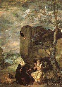 Santo Antão do Deserto e São Paulo de Tebas.Por Diego Velásquez (1638), atualmente no Museu do Prado.